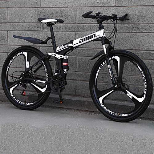 WSJ Bicicleta de montaña plegable, ruedas antideslizantes de 24 pulgadas, freno de doble disco, marco de acero de carbono, unisex, Commuter City Caravan Bike, color A2., tamaño 27 speed