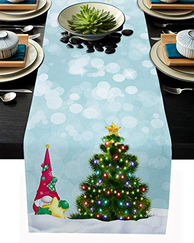 Cloud Dream Home Cotton Linen Table Runner Christmas Snow Tree Gnomes Table Setting Decor Winter for Garden Wedding Parties Dinner Decoration - 13 x 90 inches