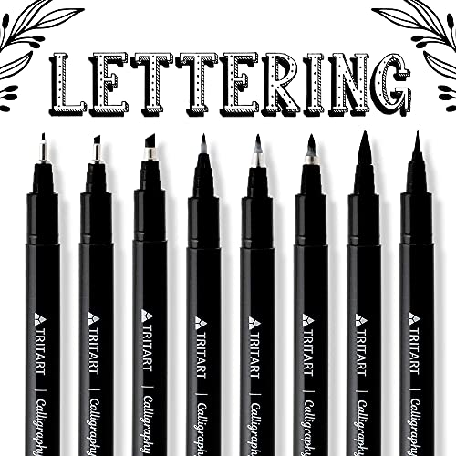 TRITART Kalligraphie Stifte Set – 8 Pinselstifte, Brush Pens mit verschiedenen Stiftspitzen – schwarze Filzstifte mit feinster Japan -Tusche – Handlettering Fineliner und Malstifte