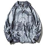 Camisa de Manga Larga con Solapa de otoño para Hombre Camisa de Flores Holgada de Gran tamaño con Estampado Retro clásico Estilo Europeo y Americano L