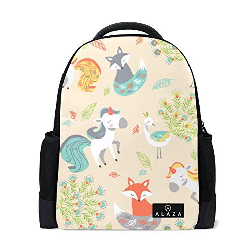 My Daily Unicorn Fox Peacock Backpack 14 inch Laptop Daypack Bookbag for Travel College School