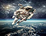 TARTINY Pintura de diamante hecha a mano de bricolajeAstronauta flota en el espacio exterior con el planeta Tierra Imagen de gravedad surrealista del globo,Dibujo de diamante30x40cm