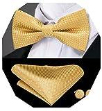 Dubulle - Set da uomo con papillon / fazzoletto da taschino in seta e coppia di gemelli, per smoking, da matrimonio Oro 85