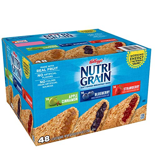 Kellogg's Nutri-Grain, Soft Baked Breakfast Bars, Variety Pack, 62.4 oz (48 Count)