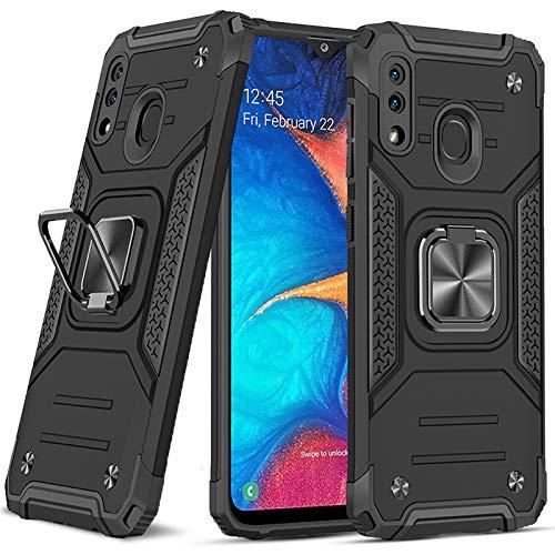 DASFOND Diseñado para Galaxy A20 / A30 Funda, Funda protectora de grado militar para teléfono con soporte de anillo de metal mejorado [Soporte magnético] Compatible con Samsung Galaxy A20 / A30, Negro