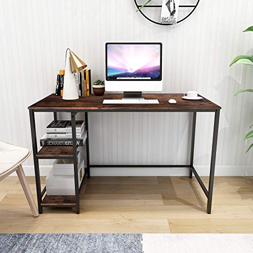 Writing Computer Desk Sturdy Home Office Desk Simple Study Desk Notebook Table with 2 Storage Shelves Easy Assembly Rustic Brown Desktop and Black Metal Frame