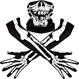 Weißes Skelett Lange Handschuhe und Schädel Gesichtsmaske Hälfte Ghost Bones Cosplay Kostüme...