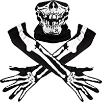 Schädel gesetzt: Jedes Paket kommt mit weißen Skelett langen Handschuhen und nahtloser Schädel Gesichtsmaske, gut für erwachsene Halloween-Tanz-Kostüm-Partei, Cosplay Partei und im Freien verwendet Lange Skelett Handschuhgröße: 50 x 11 cm/ 20 x 4,33 ...