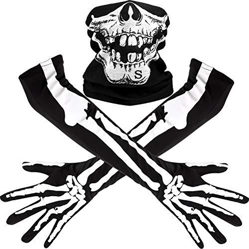 Tatuo Guantes Largos de Esqueleto Blanco y Máscara de Cráneo Disfraz de Huesos de Medio Fantasma para Adultos Fiesta de Disfraz Baile de Halloween (1 Juego)