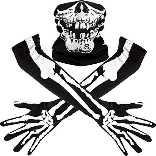 Weißes Skelett Lange Handschuhe und Schädel Gesichtsmaske Hälfte Ghost Bones Cosplay Kostüme für Erwachsene Halloween Tanz Costume Party (1 Set)