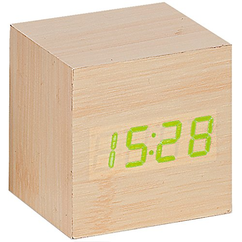 Atlanta 1134//30 Wecker Würfel digital Holz Optik hell Datum Thermometer