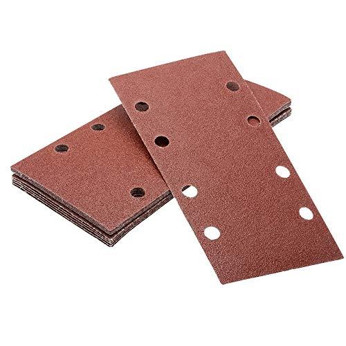 MASO - Fogli di carta abrasiva 10 pezzi 1/3 perforati fogli abrasivi, 93 x 190 mm, levigatrice con gancio e anello grana 120