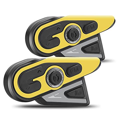 S SMAUTOP Motorcykel Intercom, hjälm Bluetooth Intercom, Bluetooth-headset, stöder 1200 m Intercom GPS röstnavigering DSP brusreducering, vattentätt motorcykelheadset (2-pack)