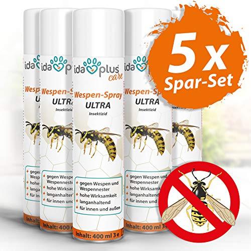Ida Plus - Wespenspray Ultra gegen Wespen - Bekämpft alle Wespen & Wespennester in Haus, Garten, Dachböden – mit Sofortwirkung – Insektenvernichter zur Wespenbekämpfung 5er Set