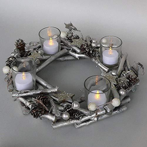 DEKOlia Adventskranz 30cm mit Windlichtern aus Glas Deko-Kranz Champagner Silber 602399