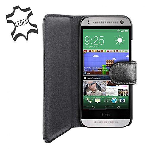 Artwizz SeeJacket Leather Handyhülle designed für [HTC One mini 2] - Schutzhülle zum Aufklappen aus Leder mit Magnetverschluss - Schwarz