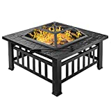 "Bonnlo 32"" Fire Pit Outdoor Wood Burning Table Backyard, Terrace, Patio, Camping - Includes Mesh Spark Screen Top, Waterproof Cover and Poker"