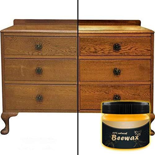 ROMANTIC BEAR Holzpolitur und Conditioner, Traditionelles Bienenwachspolitur, Natürliches Möbelreinigungswachs, Holzwürzmittel Bienenwachs-Reinigungsmittel für Holz, Metall und Leder, 80g