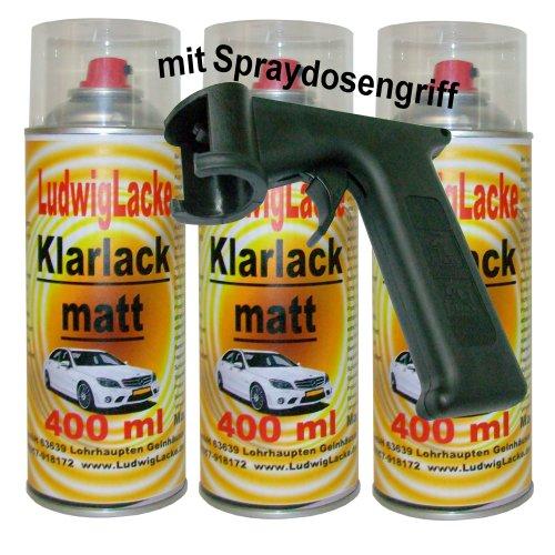 3 Klarlackspray matt 400 ml je Spraydose +Spraydosenhandgriff