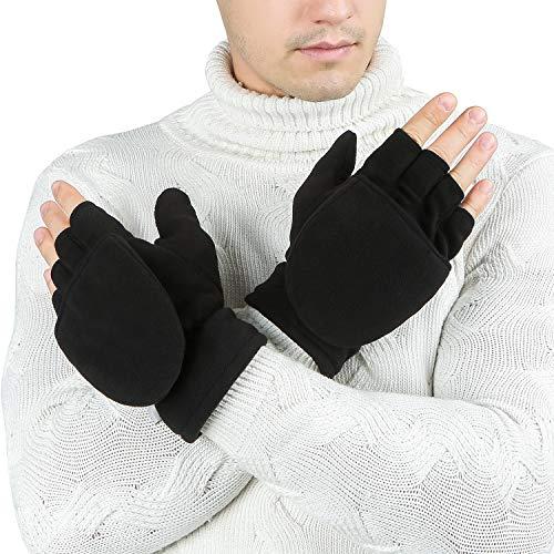 Bequemer Laden Mens Winter Thermal Warm Fingerless Cabrio Mittens Handschuhe mit Fleece gefüttert