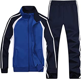 Sun Lorence Men's & Women's Classic Striped Jogger Sweat Suit Causal Sports Tracksuit