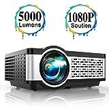 Vidéoprojecteur, TOPTRO Mini Projecteur Portable Soutien Full HD 1080P 5000 Lumens Rétroprojecteur pour Home Cinéma ou Plein Air Couverture en Métal, LED 55000 Heures