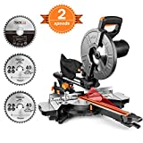 TACKLIFE Sliding Compound Miter Saw, Double Speed 3200/4500rpm, 2000W, 40T&48T Blades, 45 Bevel Cut with Laser Guide, Extensible Table, Dust Bag - EMS01A