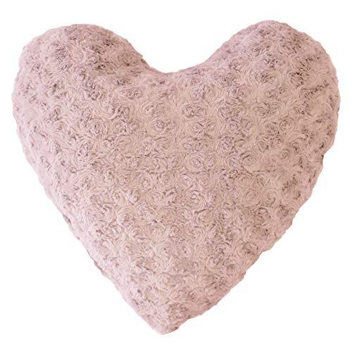 douceur d'intérieur coussin coeur 40x40cm imitation fourrure himalaya rose