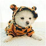 DELIFUR - Disfraz de tigre para perro, disfraz de Halloween, cosplay, tigre, gato, con capucha, para perros, ropa cálida y ropa de invierno para mascotas