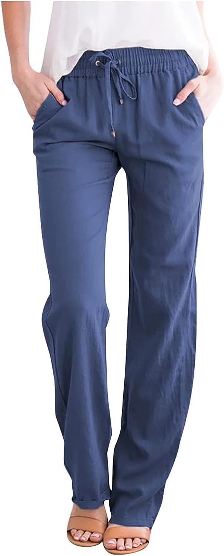 JPVDPA Women Casual Cotton Linen Pants Solid Drawstring Elastic Waist Long Straight Pants Loose Summer Trousers