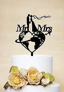 restore2a Travel Themed Wedding Cake Topper, Mr & Mrs Cake Topper