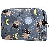 AITAI Bolsa de maquillaje grande bolsa de viaje organizador de cosméticos lindos gatos astronautas cascos gris