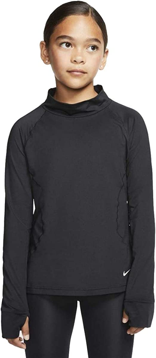 Nike Girls' Pro Warm Long Sleeve Shirt (Medium) Black