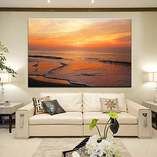 wZUN Cartel Moderno y Grabado Arte Mural Pintura en Lienzo impresión Digital Imagen con Vista al mar decoración de la Pared de la Sala de Estar 50x70 cm