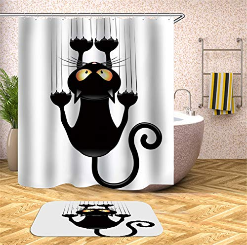 Fansu 3D GatoImpresión Cortina de Baño Antimoho Impermeable Antibacteriano, Cortina de Ducha 100% Poliéster Resistente al Moho Cortina de Bañera con Anillos (90x180cm,D)