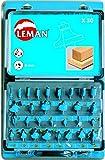 Leman 428.700 1 coffret 30 méches de défonceuse carbure assorties queue 8 mm, Bleu