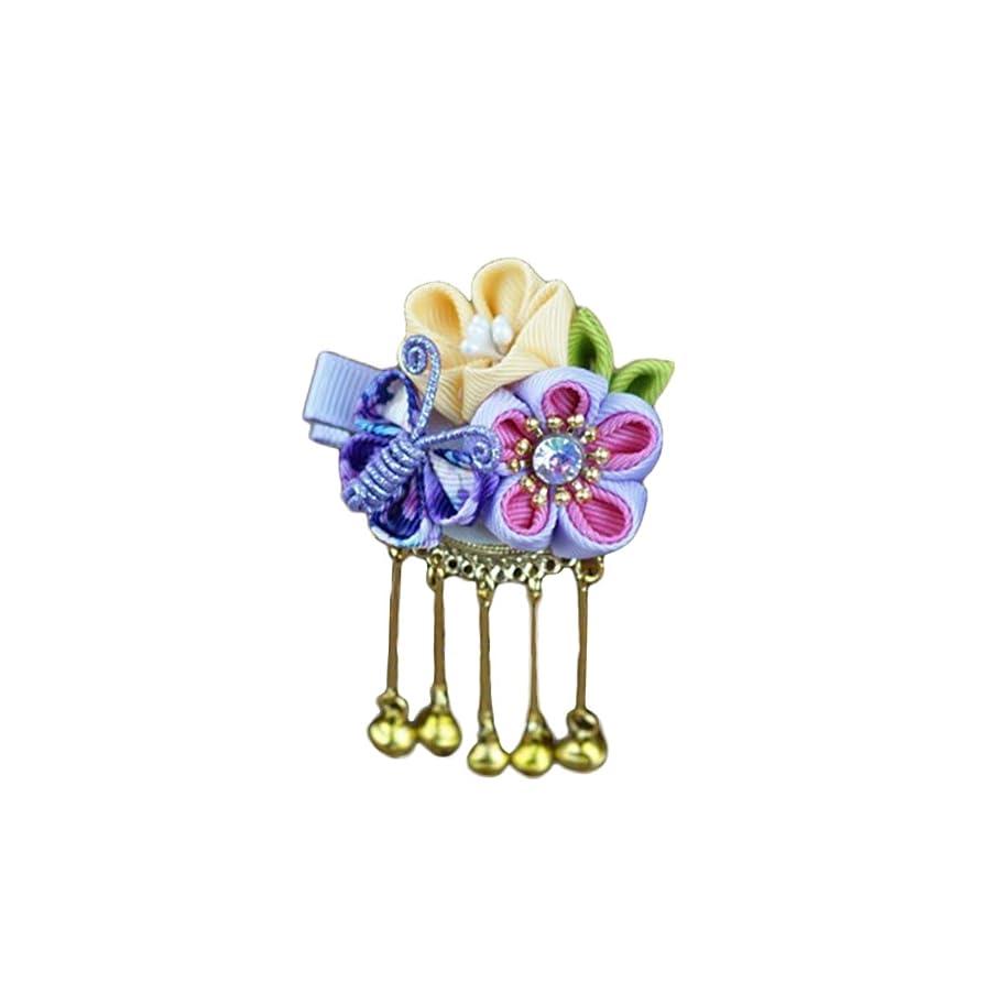 テセウスコンソール素敵なAmosfun 和風ヘアクリップ蝶さくらバレット古風なタッセルヘアピンヘッドウェアヘアアクセサリー女の子のための女性(紫色)