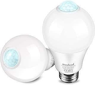 Boxlood Motion Sensor Light Bulb,Built-in PIR & Light Sensor,Outdoor/Indoor Automatic Security LED Bulb,12W(100W Equivalent),A19,E26,120V,6000K-Daylight for Front Door,Garage,Porch,Stair,Hallway-2Pack
