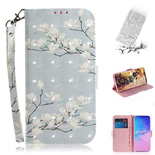 Nadoli Galaxy S10 Lite Lederhülle,3D Bewirken Magnetverschluss Kartenfach Standfunktion Pu Leder Flip Schlanke Brieftasche Schutzhülle Handyhülle für Samsung Galaxy S10 Lite,Weiß Blumen