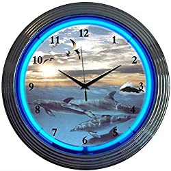Neonetics Bar and Game Room Dolphins at Sea Neon Wall Clock, 15-Inch
