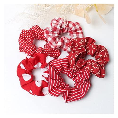 YSJJPQC Cuerda de Pelo 5pack Play Scrunchies Set Fashion Simple Basic Elastic Bandas de Pelo Panalera Soporte Punto Stripe Scrunchie Pelo Tie para Mujer (Color : Red)