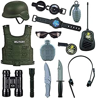 Mopoq Combat Force 14 Pieces Toys For Children, Detective Equipment For Children And Children Costumes, With Helmet, Milit...