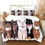 3D lindo gato lobo y perro impresión ropa de cama conjunto funda de edredón animal salvaje cama tribal cubierta con funda de almohada personalizada hoja de cama