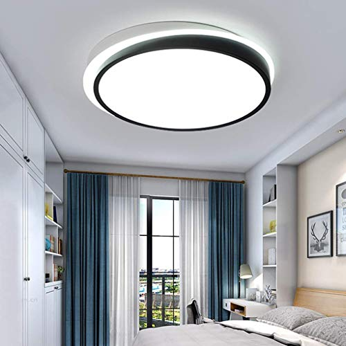 Lámpara de techo redonda Luces de techo remotas continuamente regulables 9Cm Lámpara de techo con chip 66WLED ultradelgada Material de hierro acrílico Toldo de iluminación negro simple moderno, luz bl