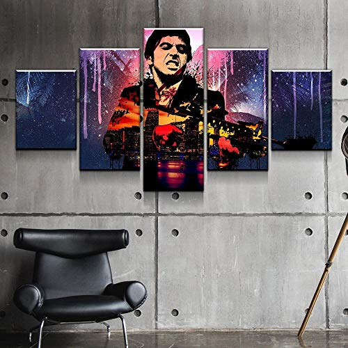 Loveygg 5 Piezas Pintura sobre Lienzo Moderna Pintura Impresión del Hogar Sala Estar Dormitorio Cuadro Regalo Carteles Scarface Gangster,con Marco