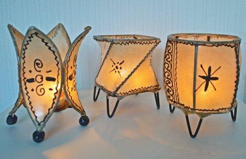MAISON ANDALUZ Moroccan Henna holders-3-Set di 3 Pezzi, H15-Cream-D10