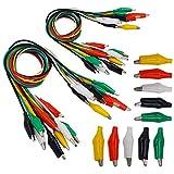 Senven(20 cables de prueba, 10 pinzas de cocodrilo) Alligator Clip Wire Test Leads Set con Pinzas de Cocodrilo Cable de Puente de Doble Final de - 52 cm / 20.5 pulgadas - 5 colores