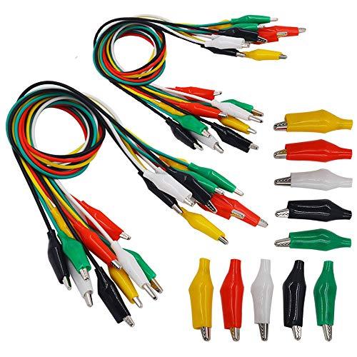 Senven®(20 cables de prueba, 10 pinzas de cocodrilo) Alligator Clip Wire Test Leads Set con Pinzas de Cocodrilo Cable de Puente de Doble Final de - 52 cm / 20.5 pulgadas - 5 colores