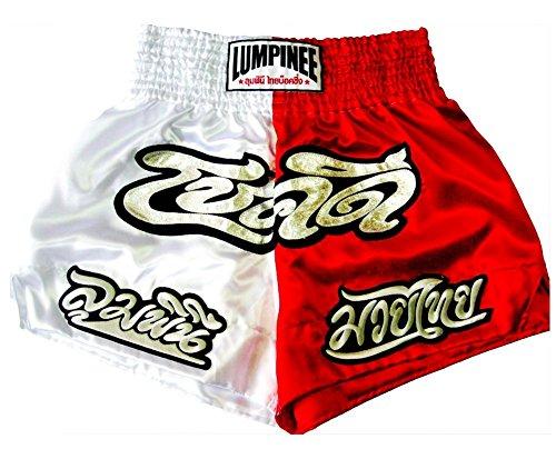 Lumpinee Muay Thai Boxen Shorts Trunks Weiss Rot Viel Glück Größe XXL