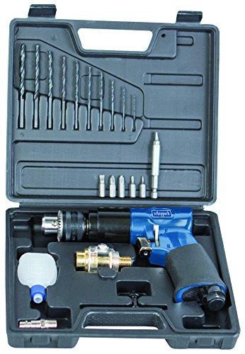 Scheppach perslucht boormachine accessoires, bevat 10 x HSS-boor, 6 x CrV-bits, 1 x bithouder, smeerapparaat, sleutel voor boorhouder, olieflesje, luchtbehoefte-Ø 141 l/min, 6,3 bar